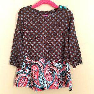 2T J. Khaki Paisley Boho Tunic Long Sleeve Dress